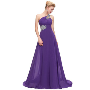 Beaded One Shoulder Bridesmaid Dresses Purple Blue Burgundy`Chiffon Long Party Dress 2019 New Prom Gowns Elegant