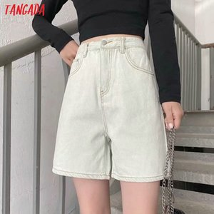 Tangada 2020 summer women elegant khahki jeans shorts loose pockets female retro casual shorts pantalones 7B04 T200704