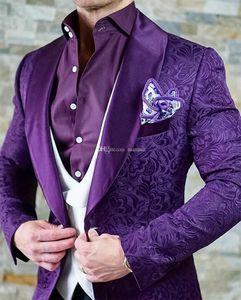 Smokings marié Groomsmen Shawl Lapel Custom Made Violet Hommes Costumes de mariage / bal / dîner Best Man Blazer (Veste + Pantalon + Gilet + Tie) M1298