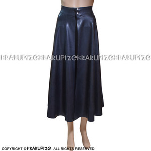 Black Sexy Mini Latex Pleated Skirt With Front Open And Buttons Short Rubber Skirt Bottoms Uniform DQ-0007
