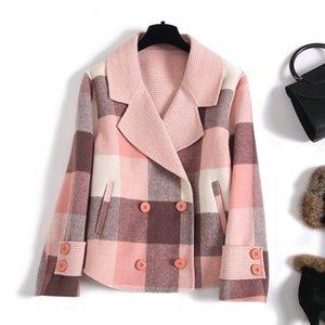 Short 100% Wool Coat Women Double-sided Wool Jacket Korean Pink Plaid Coat Overcoat Abrigos Mujer Elegante 2020 CYA0270 KJ4056
