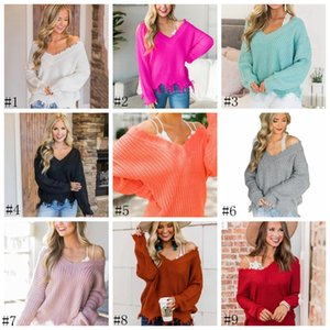 Women V-neck Pullover Sweater Irregular Long Sleeves T-shirts Loose Autumn Tops Casual Sweater Jumper Knit Tops Outwear new GGA2856
