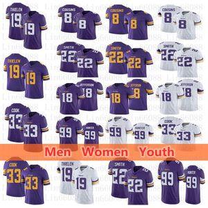 Erkekler kadınlar gençlik MinnesotaViking33 Dalvin'ın Cook 19 Adam Thielen Kirk Cousins Harrison Smith Justin Jefferson Danielle Hunter Jersey