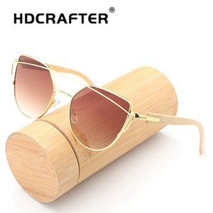 bamboo Cat Eye vintage Brand designer rose gold mirror Sunglasses For Women Metal Reflective flat lens Sun Glasses Female oculos