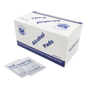 100 Pcs álcool Wet Wipe descartável Desinfecção Prep Trocar Pad Anti-séptico Skin Care limpeza de jóias Mobile Phone Limpo Limpe RRA2935