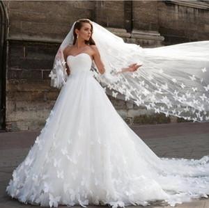 2020 velos nupciales Michael Cinco árabe de Dubai princesa larga de tul con la mariposa hecha a mano Vestidos de boda