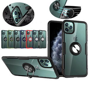 حلقة حامل واضح PC الهاتف القضية للحصول على 11 برو ماكس XS 8 7 6S زائد سيارة جبل المغناطيسي المعادن الصلبة الغلاف الخلفي