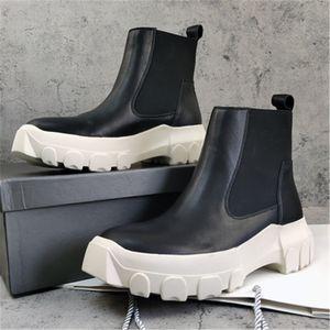 Мужская мода зима Ro обувь Скольжение на Зимние сапоги Толстая Подошва мужчин кожаные сапоги 18 # 25 / 20D50