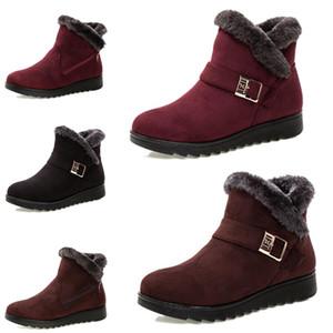 No la marca de moda de las mujeres de invierno botas Triple Negro Marrón Rojo Botas de ante de tobillo de la nieve al aire libre zapatos cómodos 35-40 del estilo del envío gota 13