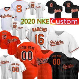 nke 8 Cal Ripken Jr. Jersey 2020 basebol personalizado Equipamentos 16 Trey Mancini 19 Chris Davis 1 Tim Beckham Roberto Alomar Adam Jones