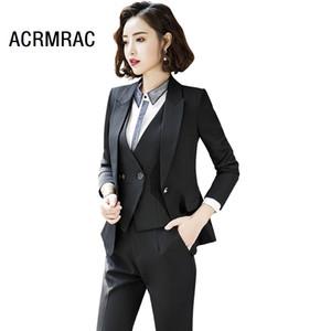Women suits Slim spring autumn Solid color Long sleeve Blazers Pants OL Formal Business Women pants suits Woman set 932