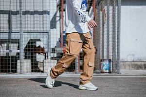 Pantalones para hombre primavera nuevo ss19 Cargo pantalones grandes bolsillos Casual Hiphop Skateboard recto suelto