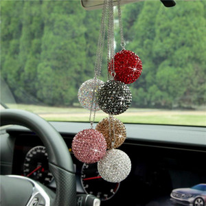 Car Pendant Mirror Charm Bling Crystal Ball Ornament Hanging Ornaments Automobiles Rearview Mirror Decoration Accessories Gifts