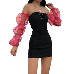 Puff sleeve ruffle mesh black dress women Sexy off shoulder ruched mini bodycon dress Elegant backless short party club dresses