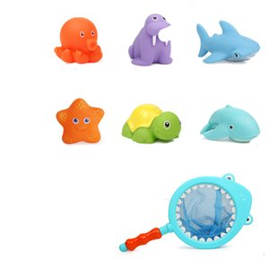 7pcs set Baby Bath Toys Cute Shark Bath Toy Heat Discoloration Sounds Doll Fishing Net with 6 Animal Water Toy Shower Novelty Gift