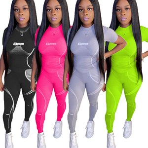 Women designer Spring Summer two piece set Fitness tracksuit yoga clothing Running Jogger suit Short Sleeve+long pants outfits 3465