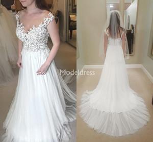 Arabric Lace Wedding Dresses 2019 Sheer Neck A Line Sweep Train Illusion Country Bridal Gowns Plus Size Chapel Chapel Chic Vestidoe De Noiva