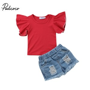 Summer Kids Toddler Baby Girls Ruffles Short Sleeve Tops T-shirt Denim Ripped Short Pants 2Pcs Fashion Outfits Clothes 1-6T T200707