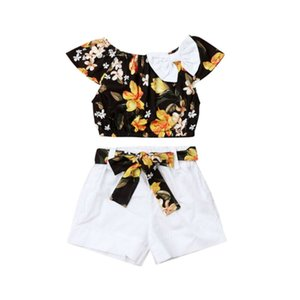 Pudcoco Kids Girls Summer Baby Clothes Sets Floral Toddler T-shirt Top White Shorts Outfits Child Casual Girls Clothes