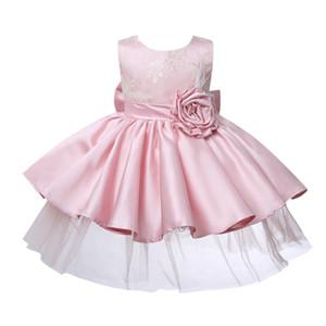 Vestido de bautismo recién nacido para niña 1 año de cumpleaños Princesa Ropa de fiesta Flor de encaje rosa Niñas pequeñas Vestidos de bautizo recién nacidos