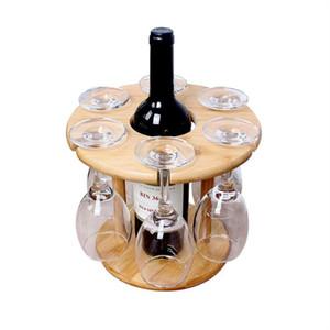 HOT-Wine supporto di vetro di bambù tavolo Wine Glass stenditoi Camping per 6 Vetro e 1 bottiglia di vino Promozione Nuovo