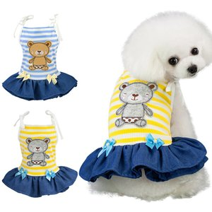 Pet Spring Summer Stripes Sling Skirt Dogs Sleeveless Dress Printed Bear For Small Dogs Chihuahua Pug Yorkie Clothing