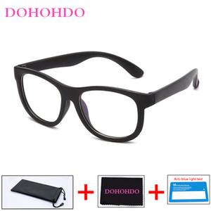 DOHOHDO Blue Light di blocco del silicone luce di vetro flessibili TR90 sicuro occhiali Bambina Bambino Plain Specchio anti-blu occhiali di protezione UV400