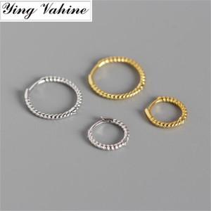 ying Vahine clássico feminino brincos rodada 100% 925 prata esterlina torcida Lines brincos para mulheres
