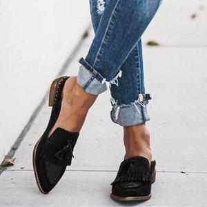 Jaycosin Kadın Ayakkabı Kadınlar Bayan Moda Ayakkabı Sığ Fringe Perçin Casual Loafers Roman Tek Sneaker Zapatos