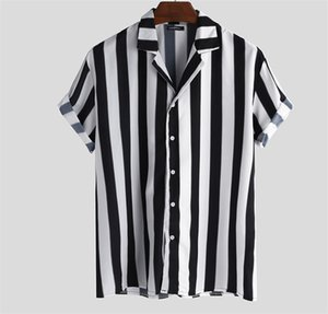 Striped Lapel Neck Loose Summer Mens Designer Polos Short Sleeve Straight Crimping Mens Tshirts Black And White With Button