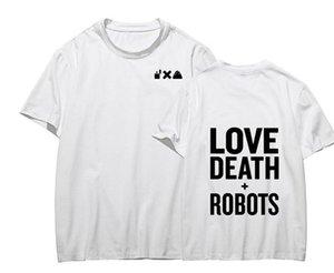 Amor e morte Robots Mens T-shirts Verão de impressão em torno do pescoço de manga curta Mens Tops Moda Rápida Secagem Mens Tees