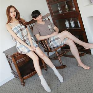 Babyoung 새로운 한국어 여름 커플 잠옷 세트 짧은 연인 잠옷 남성 여성 잠옷 Pijama 레저 홈 옷 Y19071901