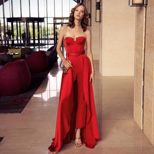 Hot Sale Red Jumpsuit Prom Dresses With Detachable Train Strapless Neck Overskirt Evening Gowns Floor Length Satin Formal Dress