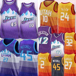 Ucuz NCAA Donovan 45 Mitchell John 12 Stockton Jersey Karl 32 Malone Rudy 27 Göbert Mike 10 Conley Joe 2 Ingles Korver Basketbol