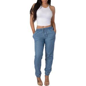 Womens Elastic Waist Casual Jeans Pants 2020 Lady High Waist Jeans Casual Blue Denim Pants Jean Taille Haute Femme #T2G