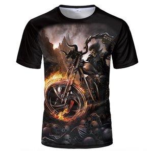 Summer T-shirt Digital Information style round collar short sleeve 3D digital printing T-shirt fashion skull printing
