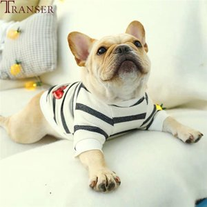 Transer Casual Dog Striped T-Shirt Pet Dog Clothes Red Heart Sequins Short Sleeve Cat Puppy Outwear 9917
