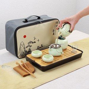 Portable en céramique Teaware Set chinois Kung Fu Tea Set Teapot voyageurs teaware avec sac teaset Gaiwan Coupes thé Cérémonie thé