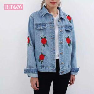 Herbst neue koreanische Version der Frauen die Rose Flower Embroidery Wild Denim Jacket Short langärmelige Womens Jacket Coat