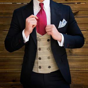 Breite Spitze Revers Dark Blue Geschäftsmann Artikel Männer Anzüge für Hochzeit Bräutigam Smoking Groomsmen Blazer trajes de hombre 2Piece Terno Masculino