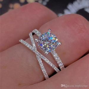 Avrupa yeni göz kamaştırıcı 3A zirkon elmas yüzük Kişilik moda çok katmanlı kadın düğün nişan yüzüğü iyi parti takı hediye