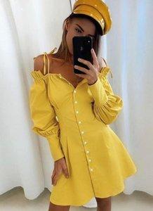 Женская Новые Desinger рубашки платья с длинным рукавом Spaghtti ремень V шеи Сплошной цвет Женский Одежда Мода Стиль Повседневная одежда