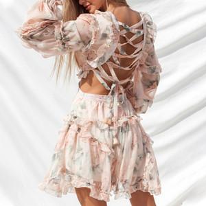 Ünlü tasarımcı Stil Kadınlar Lace Up Geri Elbiseler 2020 Yaz Seksi Derin V Yaka Fırfırlı Cut Out Bel Parti Çiçek Elbise