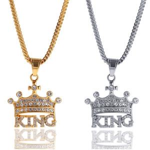 بنج مثلج خارج ولي KING المعلقات القلائد الرجال الفولاذ المقاوم للصدأ كريستال الهيب هوب مغني الراب تنس سلسلة كول شارع مجوهرات