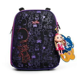 2019 Delune Brand Safe 3D Ortopedia Niños Mochila Escolar Niñas Mochilas escolares para 1-3 Grados 5-8 años Niños Cartoon School Bags J190702