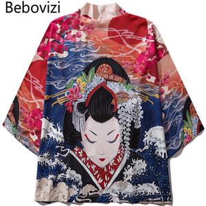 Bebovizi  2019 Man Casual Clothes Japan Style Thin Kimono Men Japanese Summer Streetwear Ukiyo E Print Robe Jacket