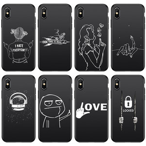 Для Iphone 11 Pro Xs Max ХГ Phone Case Black Matte Line 6 7 8 X Plus Couple Single Soft Дела сотовый телефон