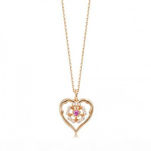 Silver Necklace Female Japanese and Korean Silver Pendant Heart Pendant Love Pendant 18K Rose Gold Silver Jewelry