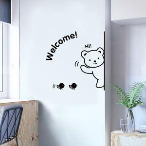 Мультфильм Медведь Добро пожаловать Wall наклейка искусства Таблички Гостиная Спальня Декорации Обои края стены Mural Съемные двери наклейки