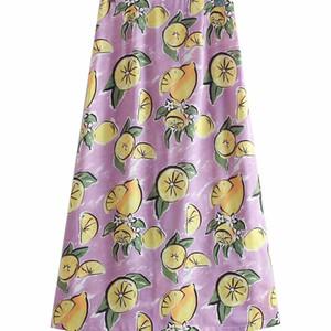 BB35-9315 manera europea y americana de limón Impreso mitad de longitud de la falda